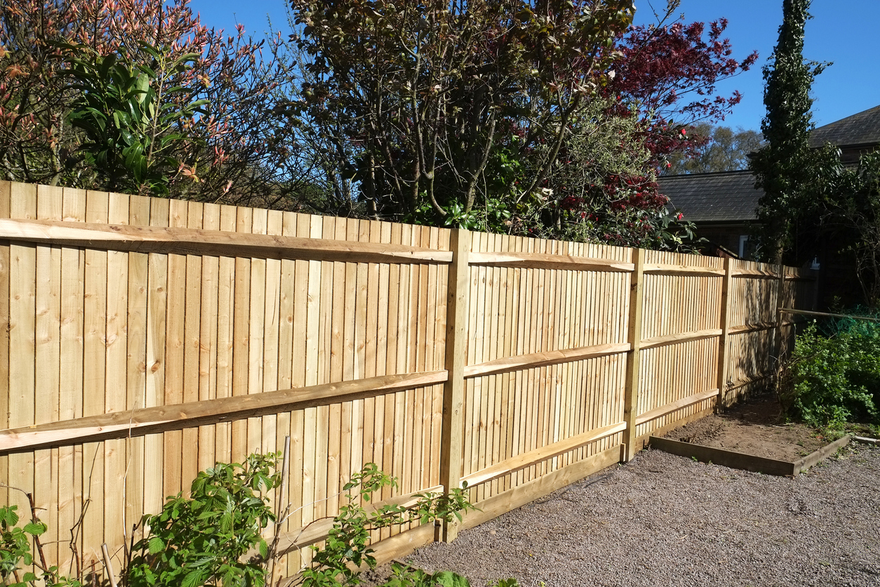 New wooden shiplap fence